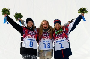 Winner Anderson of U.S., second-placed Finland's Rukajarvi and third-placed Britain's Jones pose on the podium at the victory ceremony after the women's snowboard slopestyle competition at the 2014 Sochi Olympic Games in Rosa Khutor