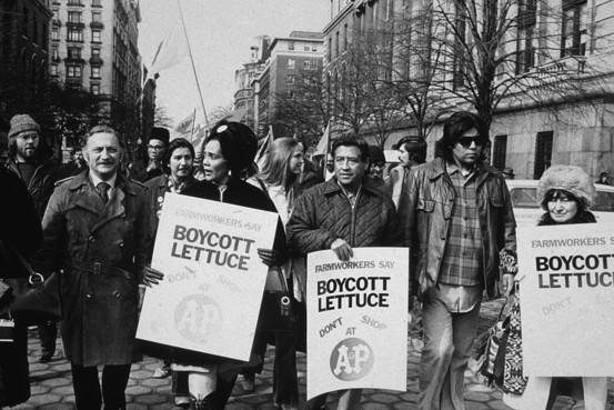 Cesar Chavez  marching with Coretta Scott King in  New York City, 1973.